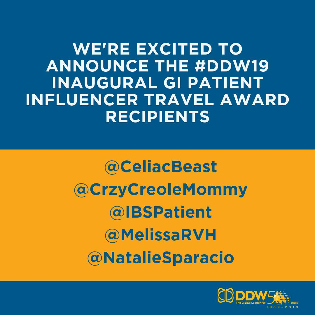 DDW 2019 Inaugural GI Patient Influencer Travel Award